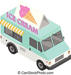 Ice cream truck icon. Isometric of ice cream truck vector icon for web design isolated on white background