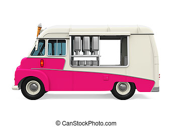Side View Of Ice Cream Van Isolated On White Background Stock