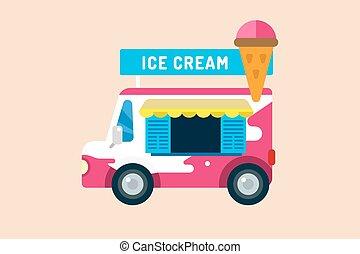 Ice cream truck van. Ice cream isolated vectors. Candy ice cream. Tasty frozen, cartoon, set. Ping, red, blue, green, red ice cream. Ice cream transportation. Ice cream shop