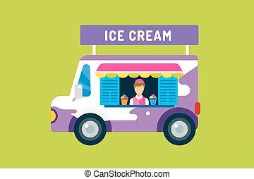 Ice Cream Truck Van Icecream Isolated Vectors Candy
