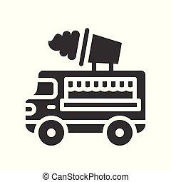 Ice cream truck vector, Food truck solid design icon