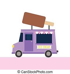 Ice cream truck. Vector hand drawn cartoon illustration.