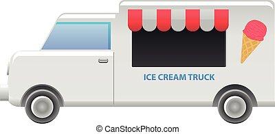 Vector illustration of an ice cream truck vendor.