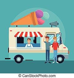Ice cream truck with customers cartoons vector illustration graphic design
