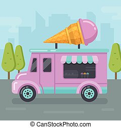 Ice cream van flat illustration