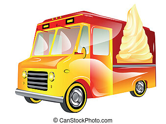 ice cream van isolated on a white background