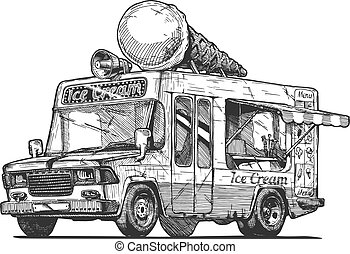 Vector hand drawn illustration of ice cream truck in vintage engraved style. Isolated on white background.