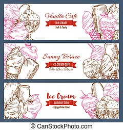 Ice cream vector banners sketch set