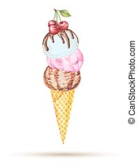 ice cream - Three scoops of ice cream in a waffle cone with...