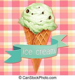 Ice-cream - Ice cream scoop on waffle cone