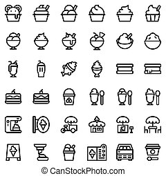 Ice cream vector icon set, outline style