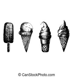 Ice cream. Vector illustration. Isolated on white. Vector sketches set. Graphic design elements for menu design. Sweet ice cream. Hand drawn doodle.