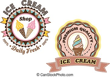 Ice Cream vector labels - ?ircular Ice Cream vector labels...