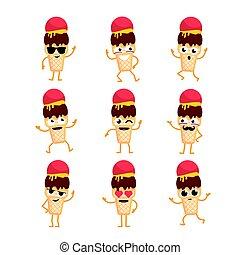 Ice Cream - vector set of mascot illustrations.