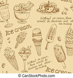 Ice cream vintage pattern background vector illustration