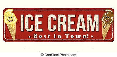 Ice cream vintage rusty metal sign