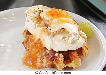 Ice cream waffle - Ice cream on waffle with fruits and sauce