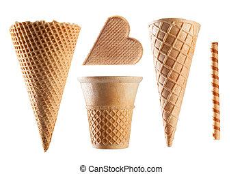Set of ice cream waffle cones on white background