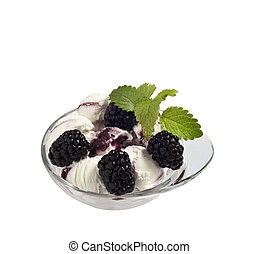 Ice cream with berries 5 - Ice cream with berries on a white...