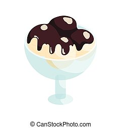 Ice cream with chocolate sauce in bowl icon
