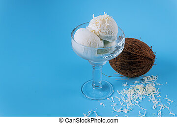 Ice cream with coconut over a blue background
