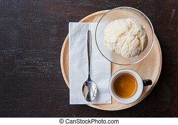 ice cream with espresso coffee