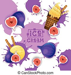Ice Cream With Fig Taste Dessert Colorful Poster Vector...