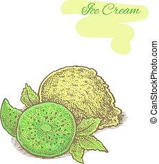 ice cream with kiwi