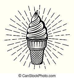 Ice cream with rays vector illustration in monochrome style isolated on white background