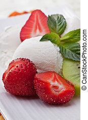 Ice cream with strawberries - Ice cream dessert with...