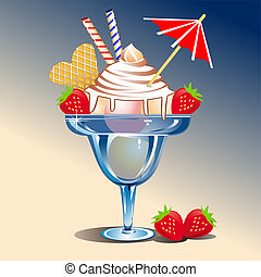 Icecream sundaes in a glass with strawberries. Full scalable vector graphic included Eps v8 and 300 dpi JPG.