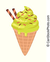 Ice Cream with Two Candy Sticks Isolated. Vector