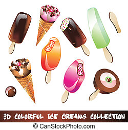 Ice Creams Icon Set - Colorful Ice Cream Icons Collection...
