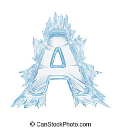 Ice crystal font. Letter A.Upper case.With clipping path -...