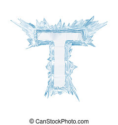 Ice crystal font. Letter T.Upper case.With clipping path -...