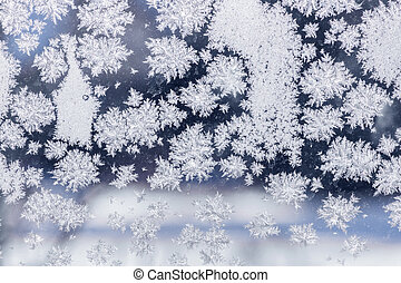 Ice crystals - Winter ice crystals on window glass, macro ...