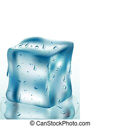 ice cube 2 - illustration of melted ice cube on isolated ...