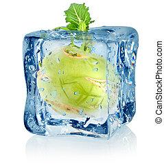Ice cube and kohlrabi