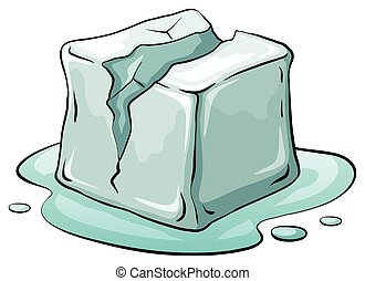 Ice cube - Broken ice cube melting illustration
