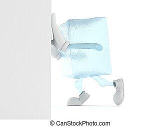 Ice cube character pushing wall