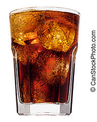 cola splash - Ice cube droped in cola glass and cola...