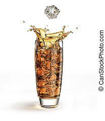 Ice cube falling into a tall glass, splashing.