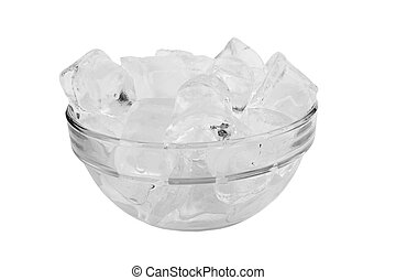 Ice cube in the bowl isolated on white background