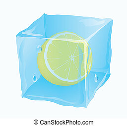 Ice cube in which the lemon is frozen