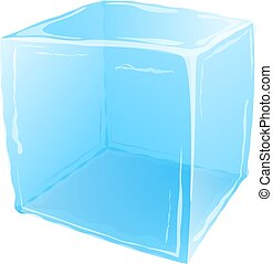 Ice cube isolated on white background. Vector illustration.