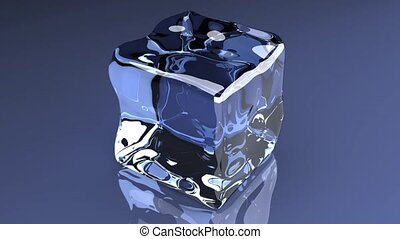 Ice Cube - 3D rendered animation. A turning Ice cube.