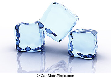 Ice cube - Three virtual ice cubes on reflective surface. 3d...