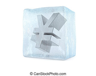 Ice cube with yen symbol