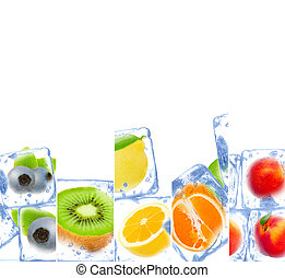 Photo of rainbow color fruit and ice cubes mix with white space for text