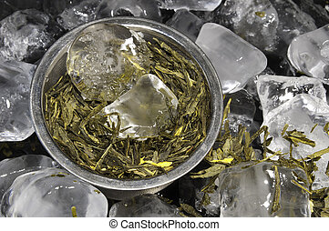 A Tea Infuser Basket with Green Tea Sitting ontop of a Bed of Ice Cubes
